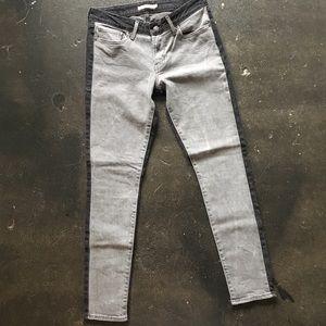Levi's 711 Skinny Black & Gray Color Block Jeans